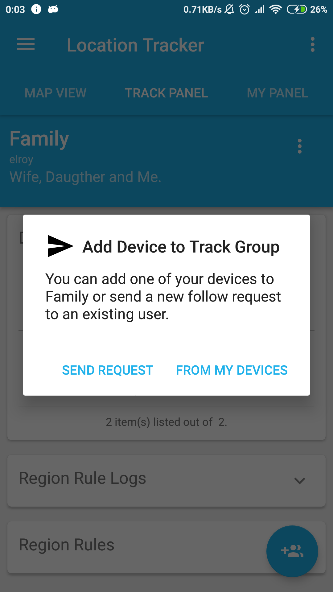 Location Tracker - Add Device to Track Group
